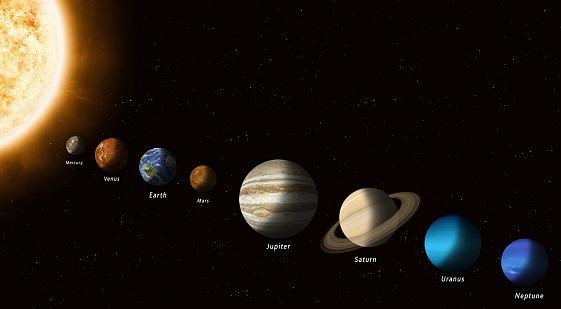 solar system planets with a sun