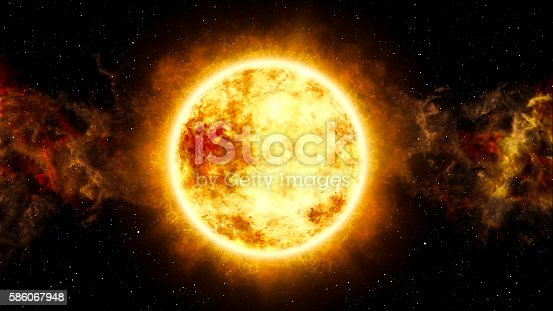 istock Sun and Star with Cosmic Cloud in Space 586067948