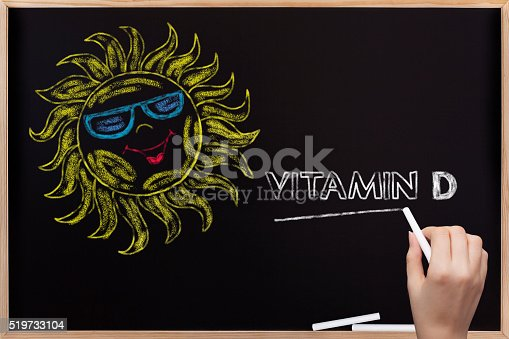 Sun and Vitamin D written on blackboard