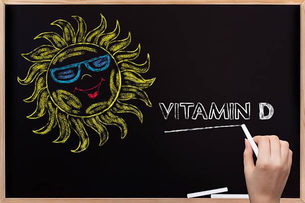 sun and vitamin d written on blackboard - vitamin d stok fotoğraflar ve resimler