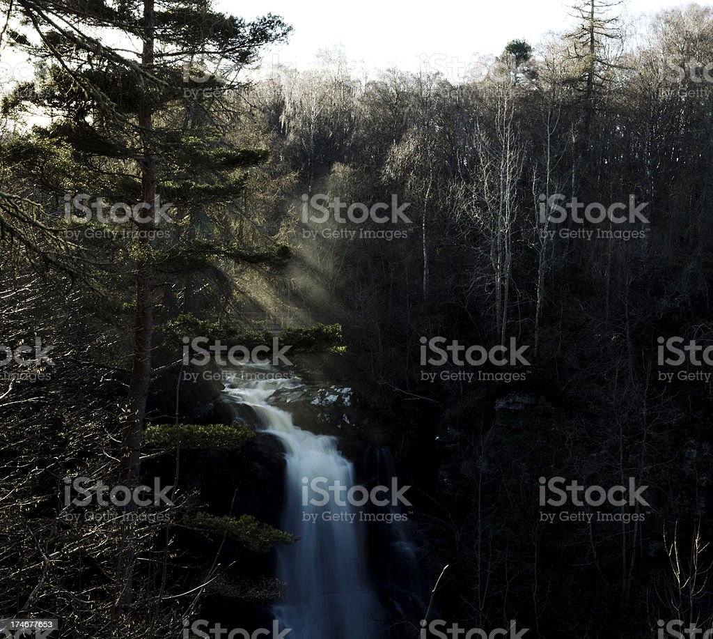 Sun and Waterfalls in the Birks of Aberfeldy, Scotland stock photo