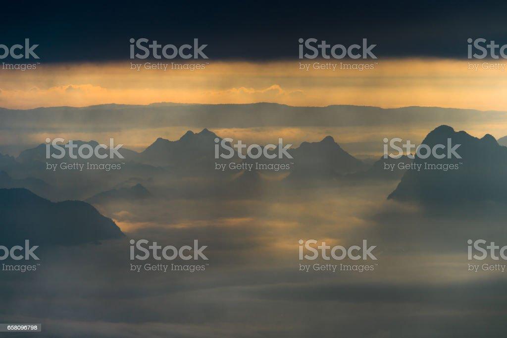Sun beam in mountains range royalty-free stock photo