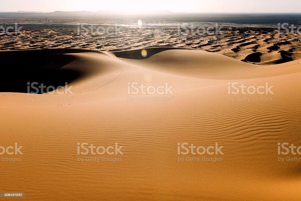 Sun Beams at Erg Chebbi Sand Dunes, Morocco,  Africa stock photo
