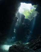 Beautiful light beams through the jungle canopy then into this cavern system.