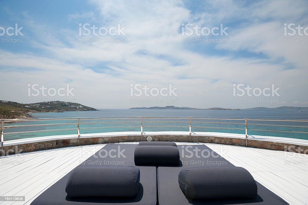 Sun bed in a tourist resort royalty-free stock photo
