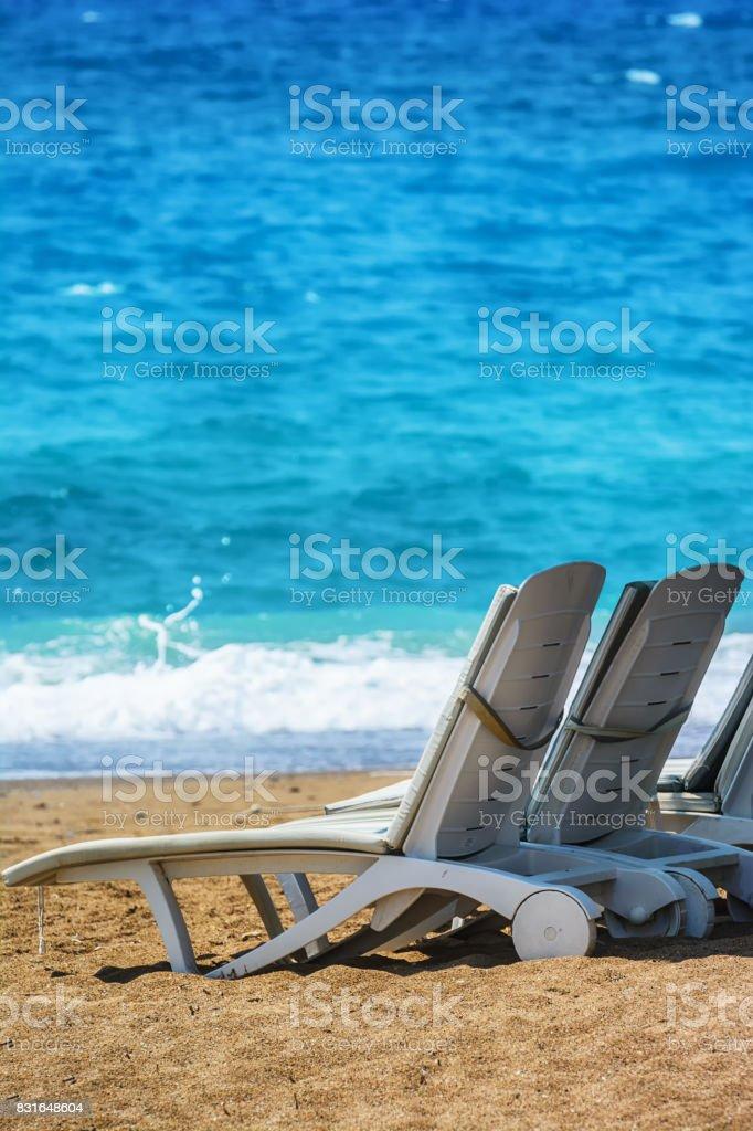 De Longues Chaises Sur Plage Libre Manavgat Photo La Droit OZiTkXPu