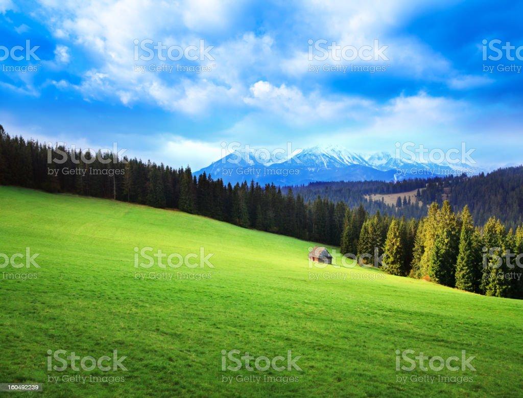 Sun Breaking Through Stormy Sky - Green Mountain Landscape royalty-free stock photo