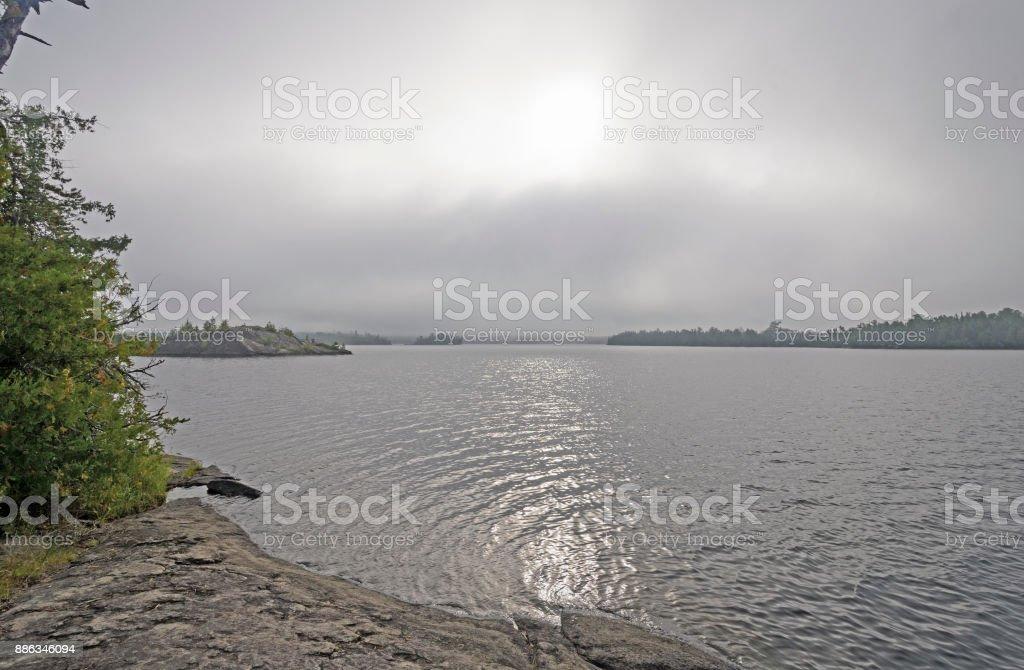 Sun Burning Through the Morning Fog stock photo