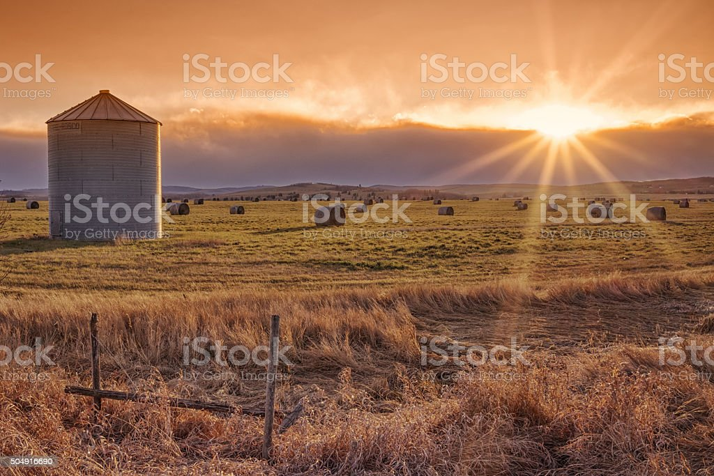 Sun Burst Prairie Sunset stock photo
