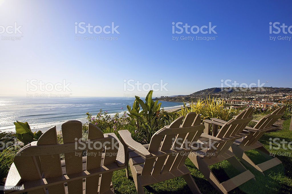 Sun chairs for gorgeous California day royalty-free stock photo