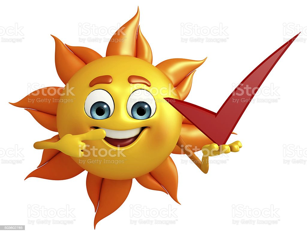 Sun Character With right sign stock photo