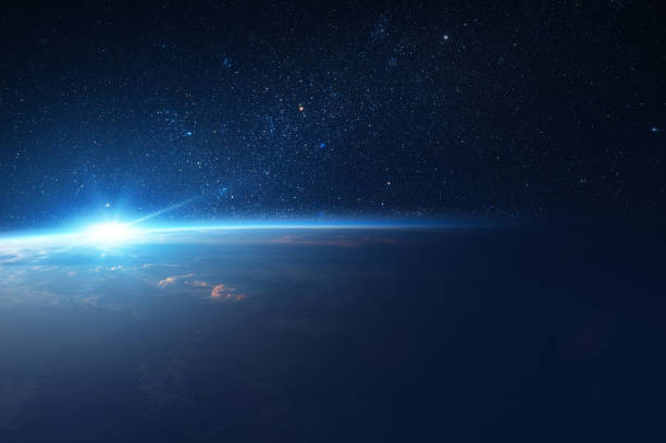 Sun Comes Up from Behind Earth in Space Sun Comes Up from Behind Earth in Space. planet space stock pictures, royalty-free photos & images