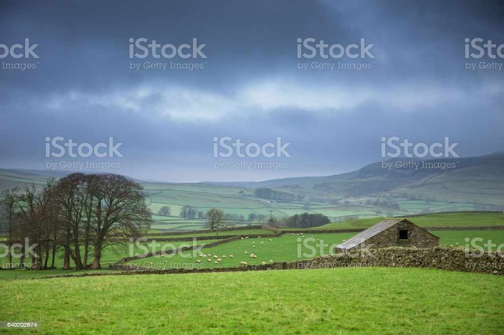 Sun Coming Out in Austwick stock photo