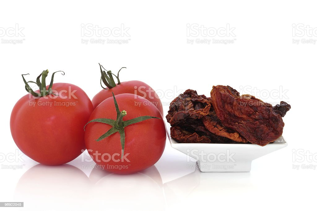 Sun Dried and Fresh Tomatoes royalty-free stock photo