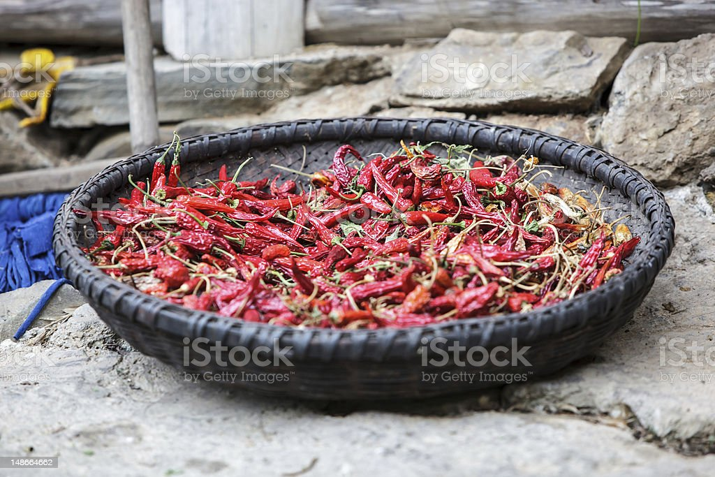 Sun dried chili peppers Sun dried chili peppers in Dazhai, China Chili Pepper Stock Photo