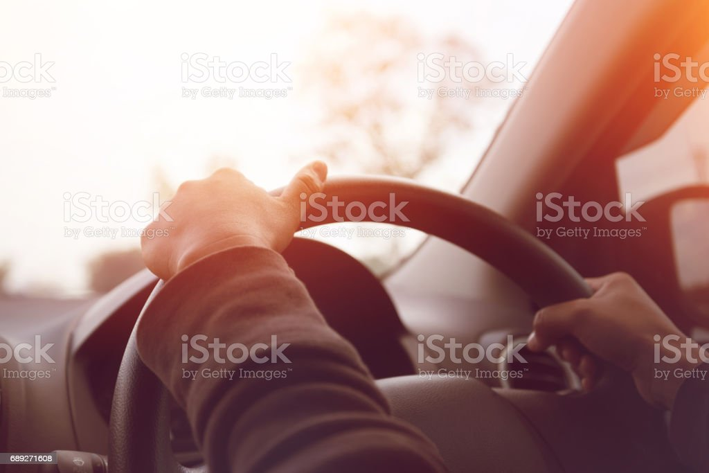Sun during the day time driving on the road at speed. stock photo