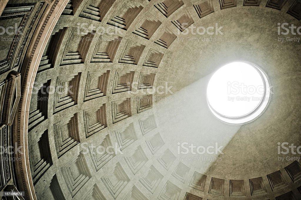 Sun falling in Pantheon stock photo
