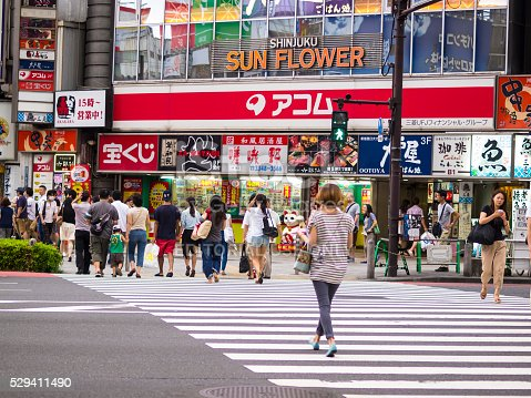 Tokyo, Japan - August 16, 2014: View of a moment on street crossing in front of Sun Flower, Shinjuku not far from train station. Most people crossed the street while a lady, who is late is in hurry crossing the street.  The white crossing strips are prevailing the lover part of photo, while in background are stores and buildings with lot of commercial lightings.