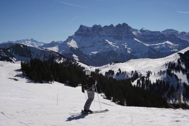 Sun Gates Ski-ing, Chatel stock photo