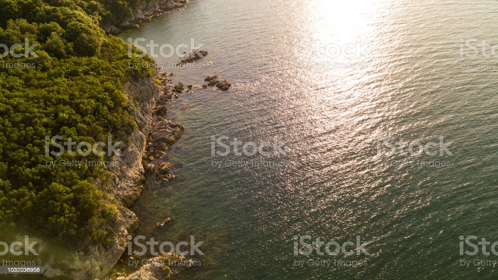 Scenic view of sun glitter on the surface of Aegean Sea. Aerial view...