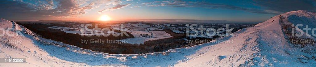 Sun glow snow panorama royalty-free stock photo