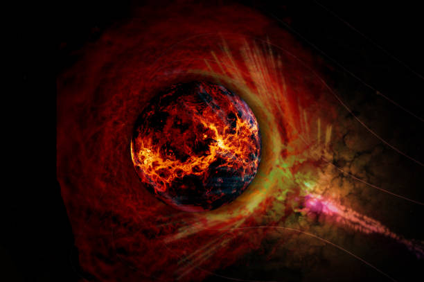 Sun glowing bright in nebula clouds surrounded. Solar flare burning around astrological celestial at galaxy conceptual background design. Elements of this image furnished by NASA. stock photo