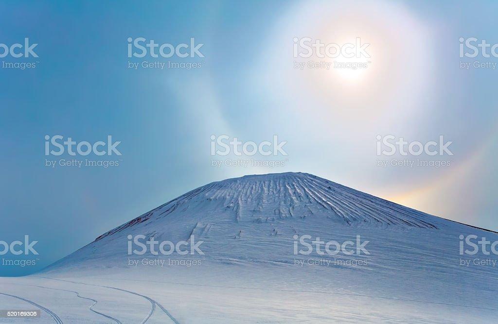 Sonne-halo auf die Berge, Halbinsel Kamtschatka, Russland – Foto