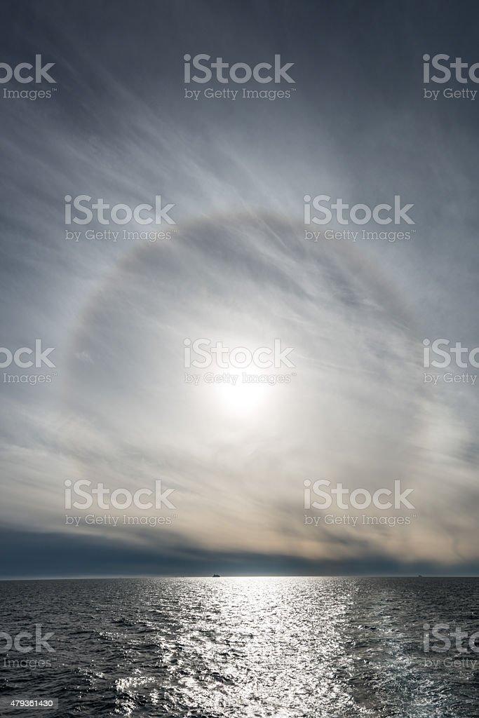 Sun Halo Over Ocean Greenland Disko Bay stock photo