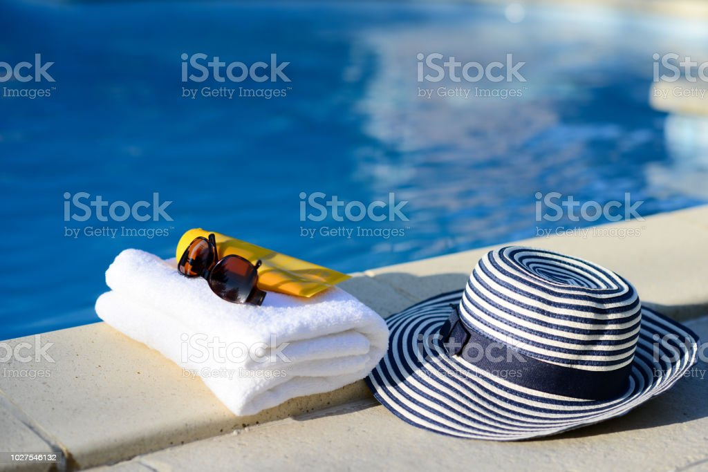 Sun Hat Towel Sunscreen By The Poolside Swimming Pool Luxury Summer ... 0cccbcc313dc