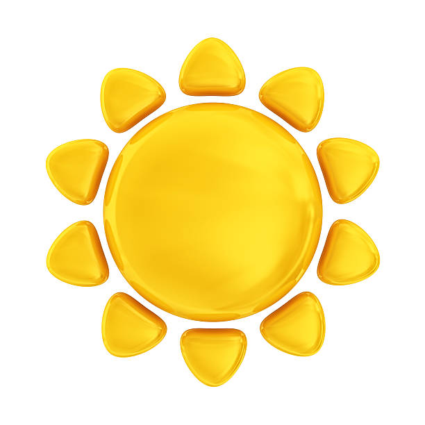 sun icon - three dimensional stock photos and pictures