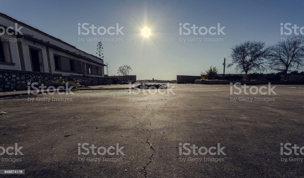 Sun illuminating the asphalt stock photo