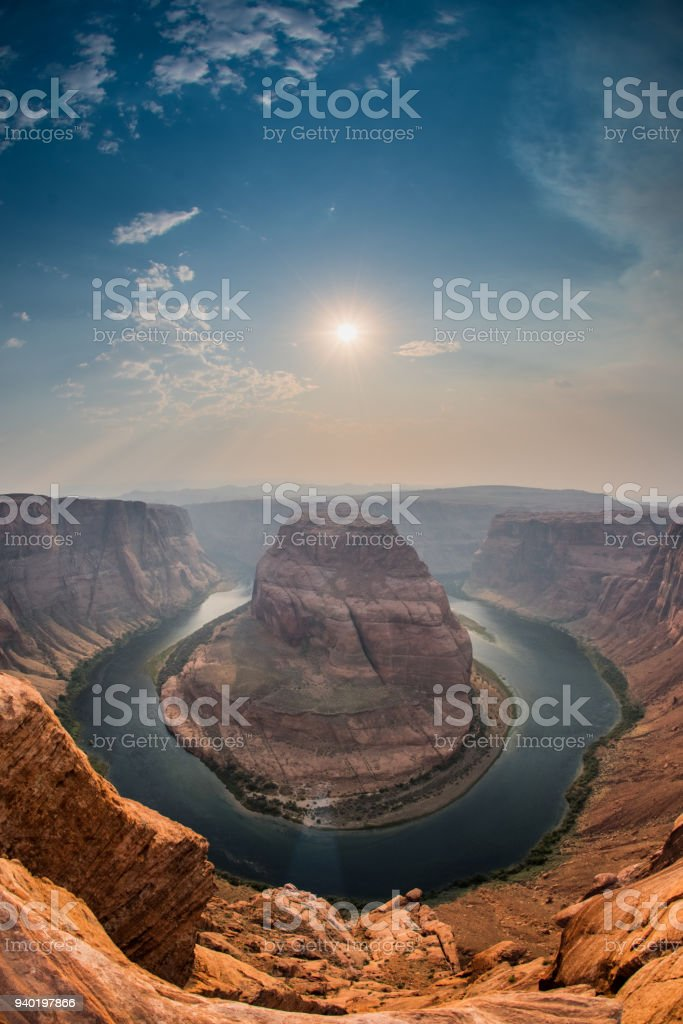 Sun in Afternoon Over Horseshoe Bend stock photo
