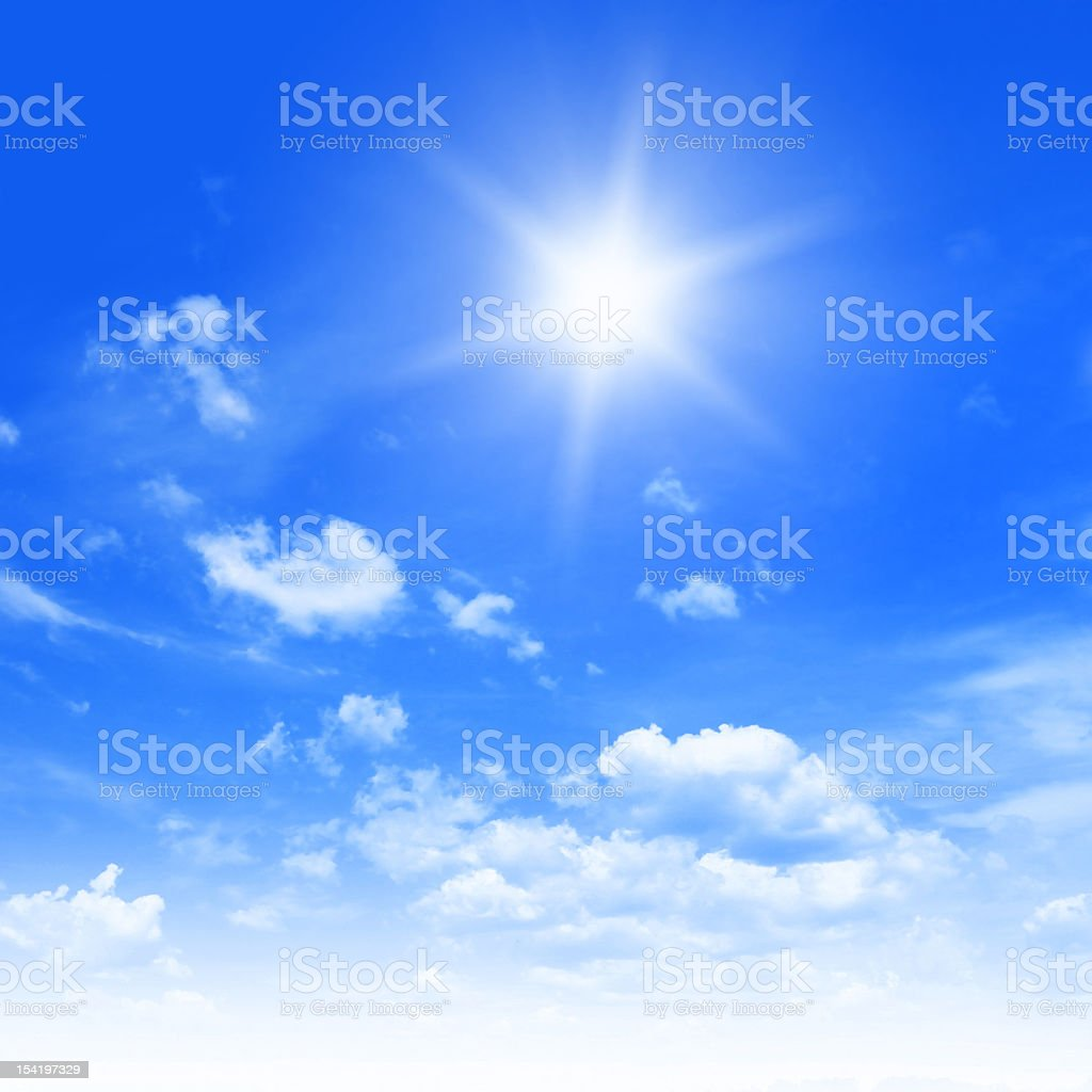 Sun in blue sky. royalty-free stock photo