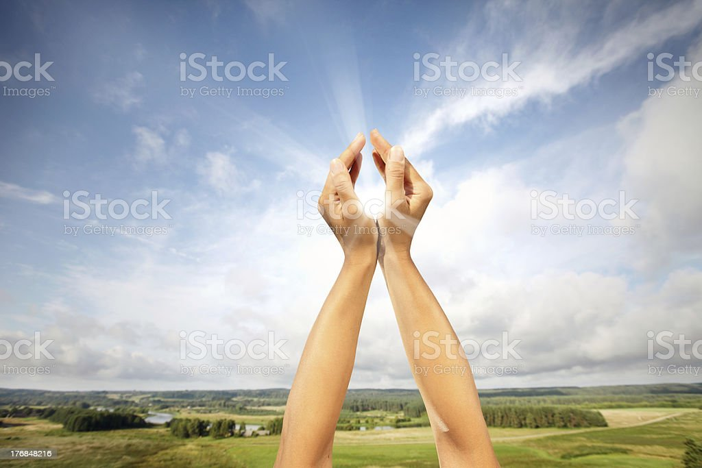 Sun in hands royalty-free stock photo
