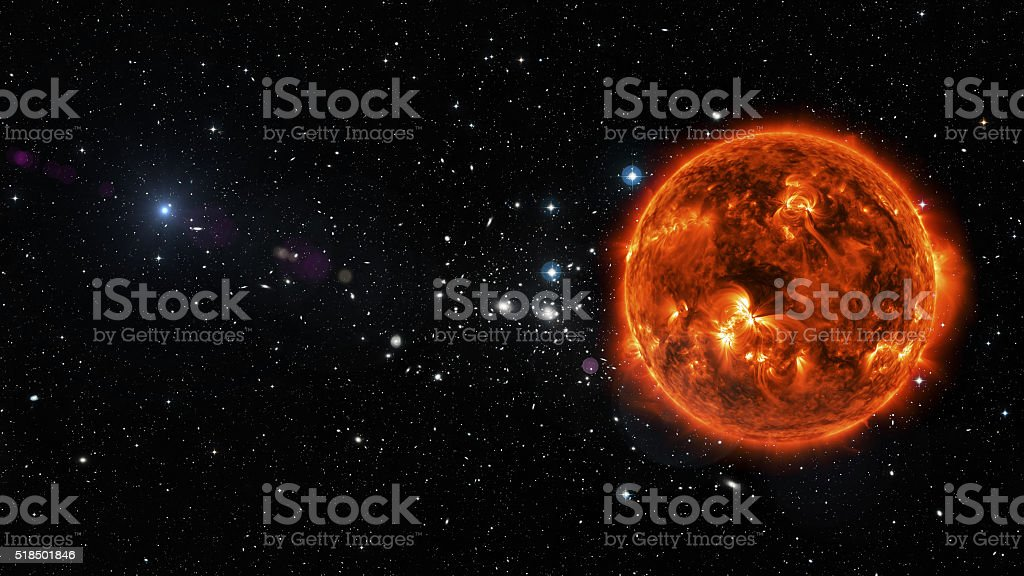Sun in outer space. stock photo