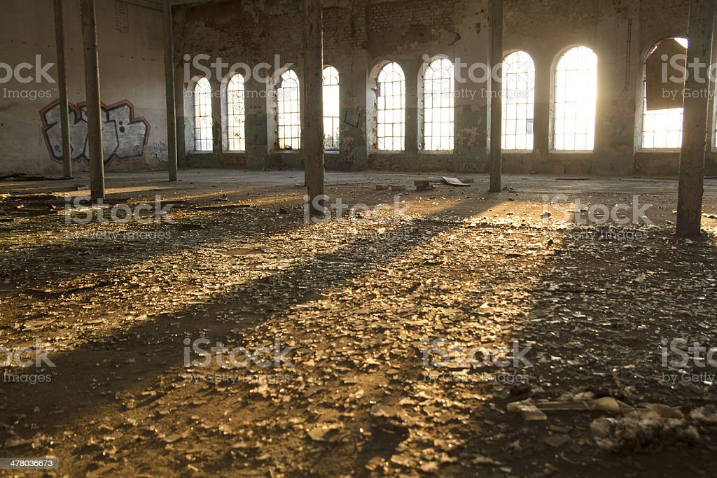 Sun in the abandoned factory royalty-free stock photo