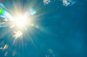 radiant sun in the blue sky, closeup, natural background
