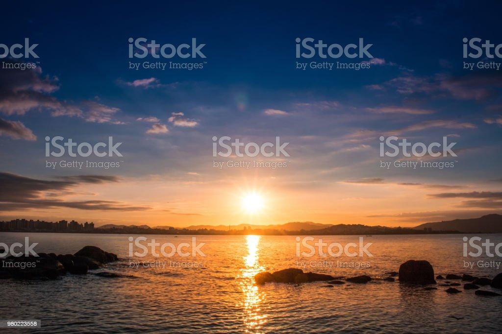 Sun in the water stock photo