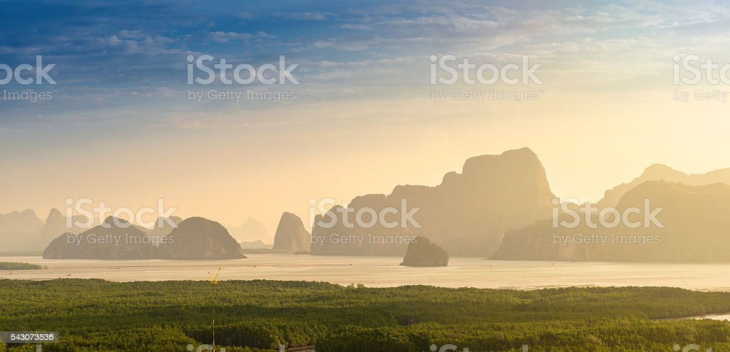 Sun kiss view from Phang-Nga,Thailand stock photo