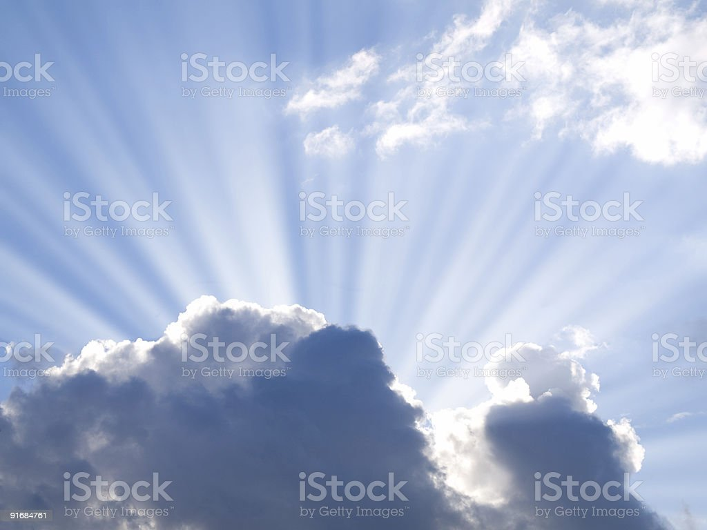 Sun light coming from behind of the cloud royalty-free stock photo