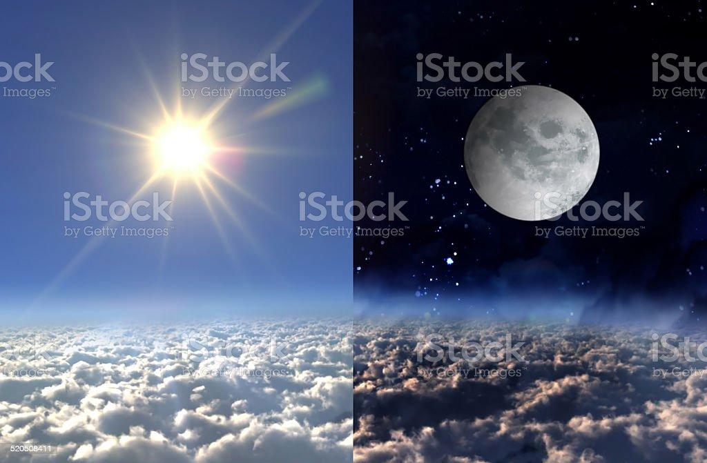 Sun light day and moon night stock photo