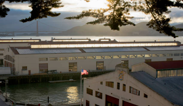 Sun Light highlighting Clerestory Windows of Historic Pier Buildings at San Francisco