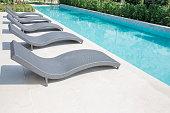 Sun loungers and a beautiful swimming pool