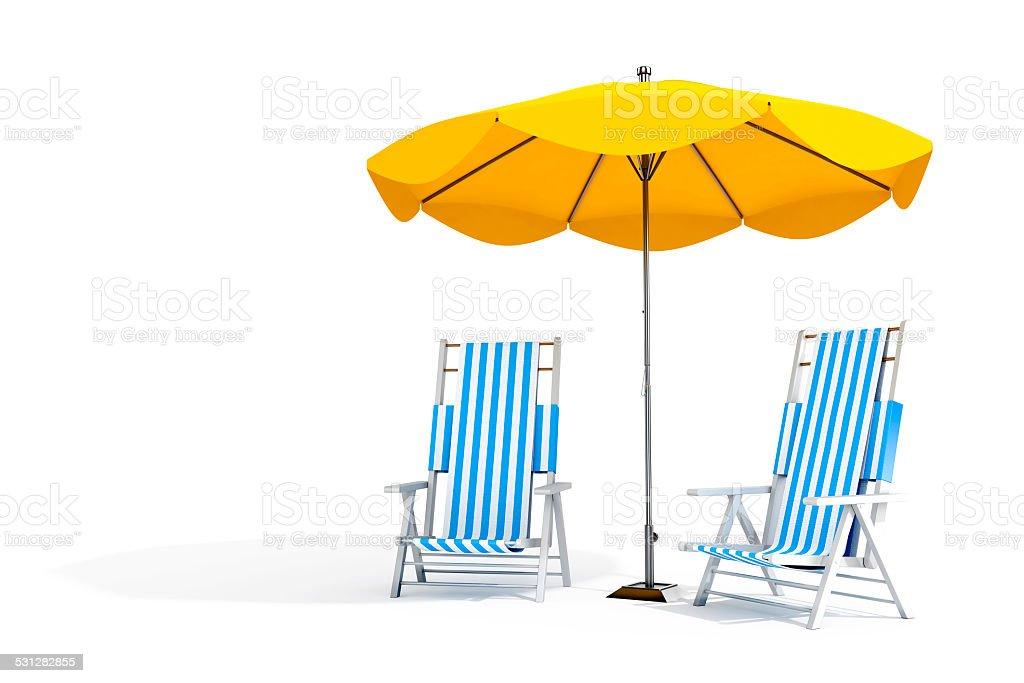 Sun loungers and umbrella stock photo