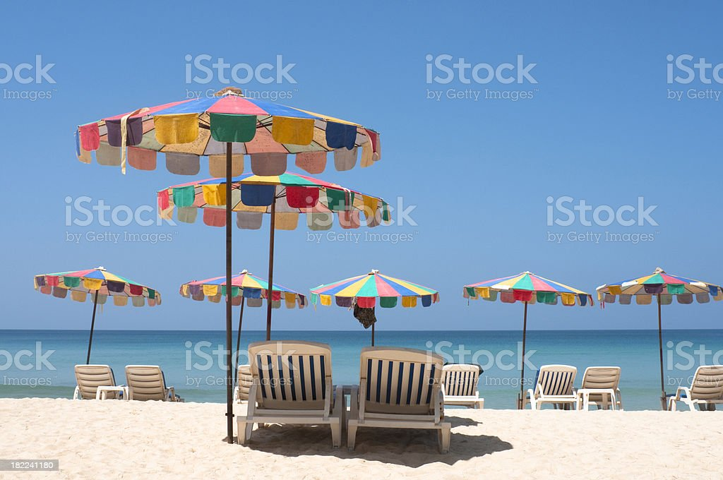 Sun Loungers On A Tropical Beach In Phuket, Thailand royalty-free stock photo