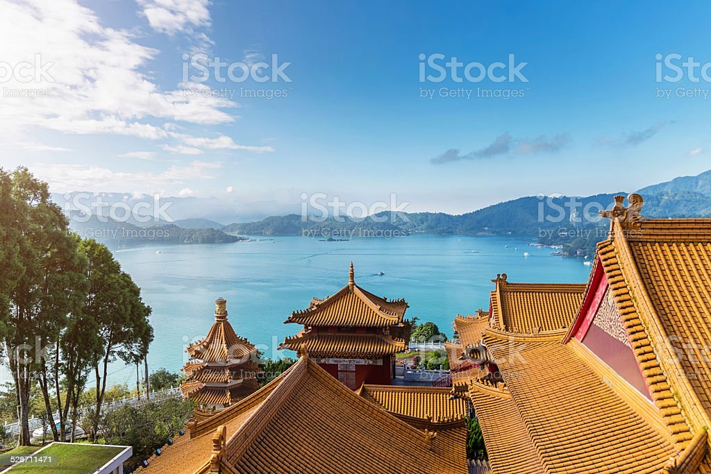 Sun Moon Lake View over Temple Rooftops Taiwan stock photo