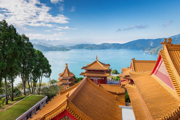 Sun Moon Lake View Temple Rooftops Taiwan – Foto