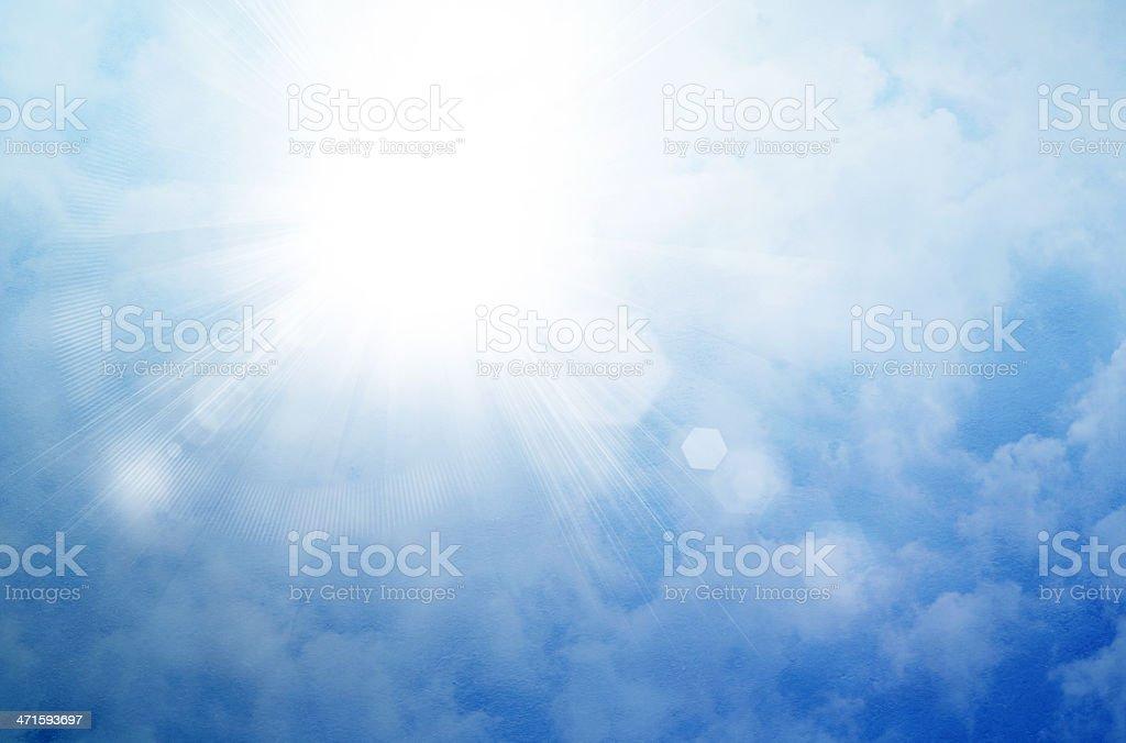 Sun on a blue sky royalty-free stock photo
