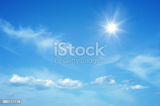 istock Sun on beautiful blue sky 680117118