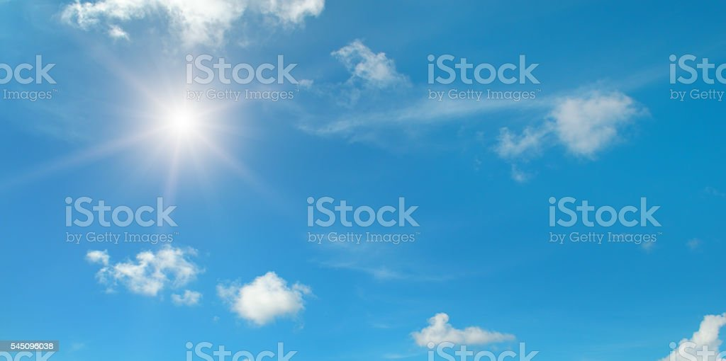 sun on blue sky with clouds royalty-free stock photo
